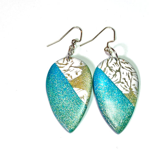 Embrace - Turquoise and Gold Drop Earrings