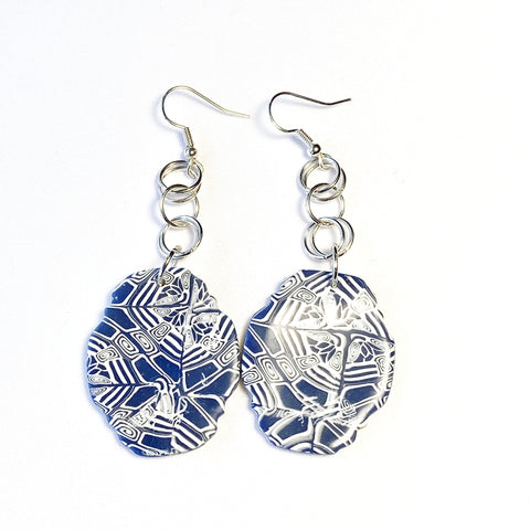 Stella - Blue and White Geometric Earrings