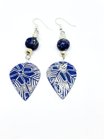 Stella O. - Blue and White Petal Earrings