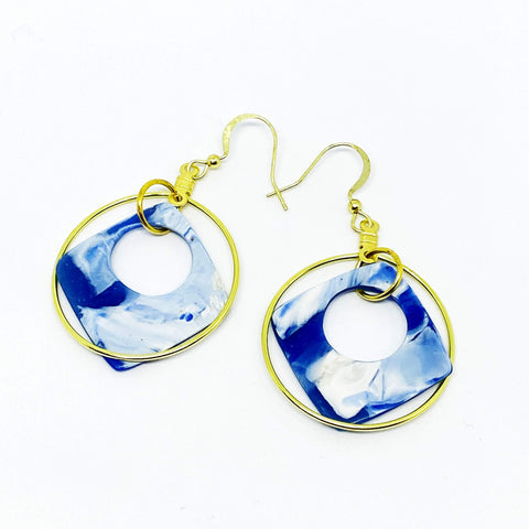 Blue Haze - Blue and Gold Hoop Earrings