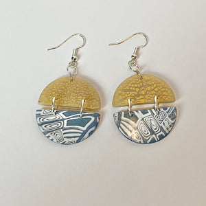 Two tone dangle earrings Blue and Gold
