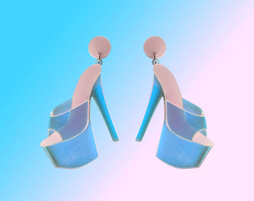 Iridescent Acrylic Sexy Heels Earrings