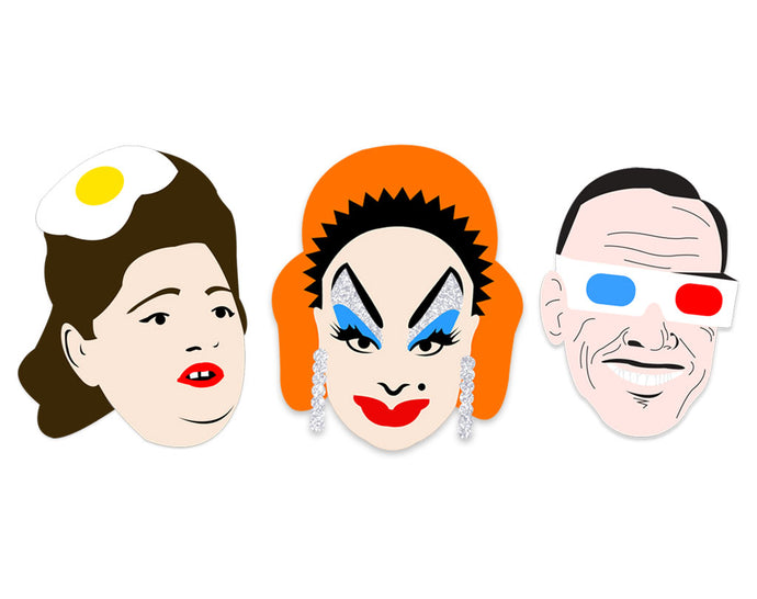 The filthy trio! John Waters Brooch Set