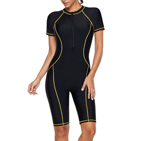 Sidiou Group Surfing Suit Women Zip Front Color Block Wetsuit Short Sleeve One Piece Swimsuits