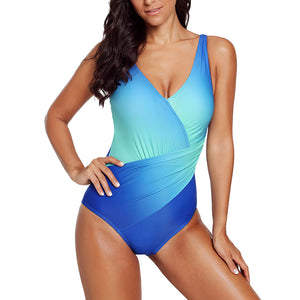 Sidiou Group Women Gradient Color V Neck Swimwear Beachwear Bathing Wear One Piece Swimsuit Costume