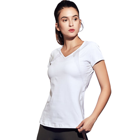Running Fitness Yoga T-shirt Women Quick Dry Sports T Shirt Mesh Stitching Elastic Yoga Clothes Top
