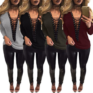 Sidiou Group Women Lace Up T-Shirt Deep V-Neck Hollow Out Top Long Sleeve Eyelet Casual Basic Top