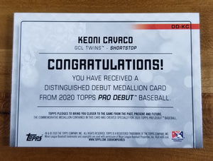 Keoni Cavaco - 2020 Pro Debut Distinguished Debut Medallion 23/99 - Twins