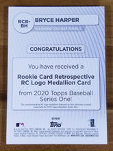 "Load image into Gallery viewer, Bryce Harper - 2020 Topps RC Medallion ""relic"" #RCR-BH - Nationals/Phillies"