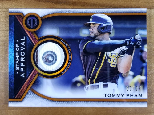 Tommy Pham - 2021 Topps Tribute Stamp of Approval Relic 10/25 - Padres