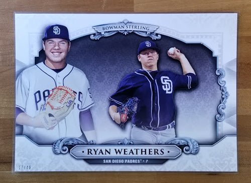 5x7 - Ryan Weathers - 2019 Bowman Draft Sterling Continuity Oversized 27/49 - Padres