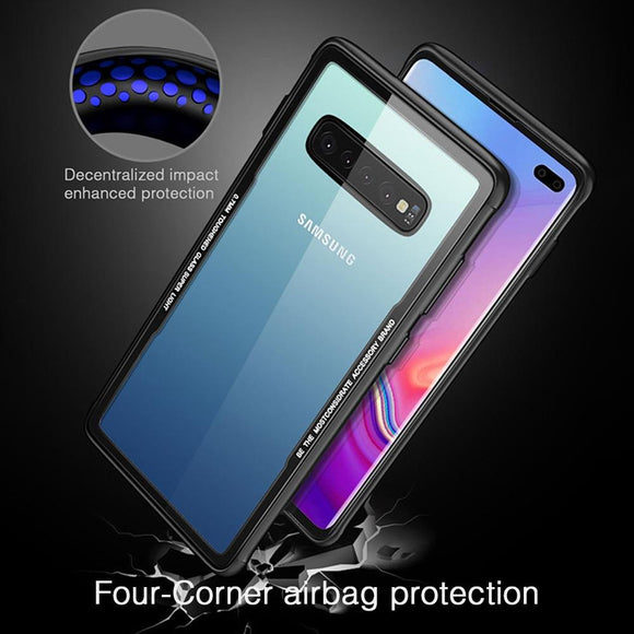 Phone Case - Transparent Tempered Glass Case For Samsung Galaxy S10 S10 Plus
