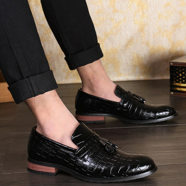 Invomall Men's Crocodile Print Tassel Oxford Shoes(Buy 2 Got 10% off, 3 Got 15% off Now)