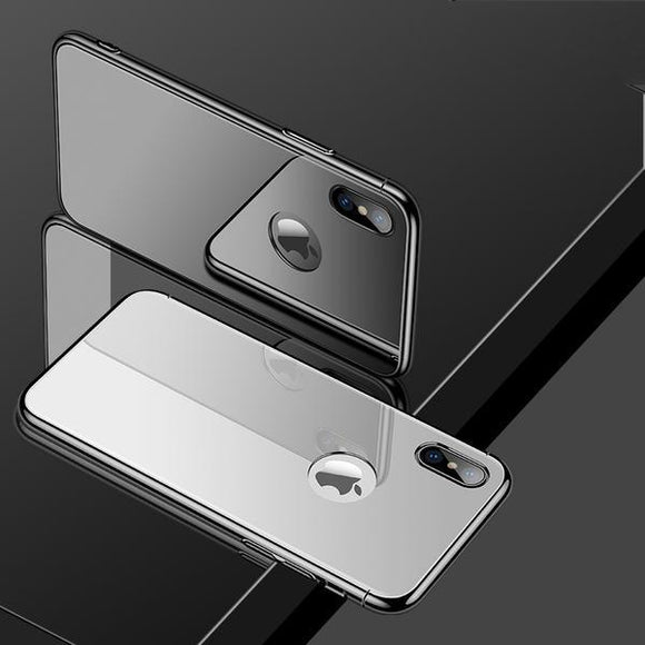 Invomall Luxury Ultra Thin 3 in 1 Plating Frame Tempered Glass Back Cover For iPhone
