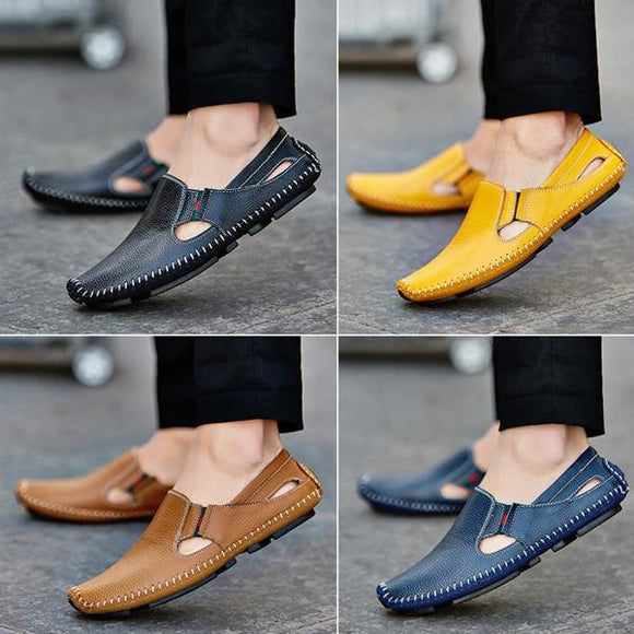 Invomall Light Soft Casual Fashion Men Leather Shoes