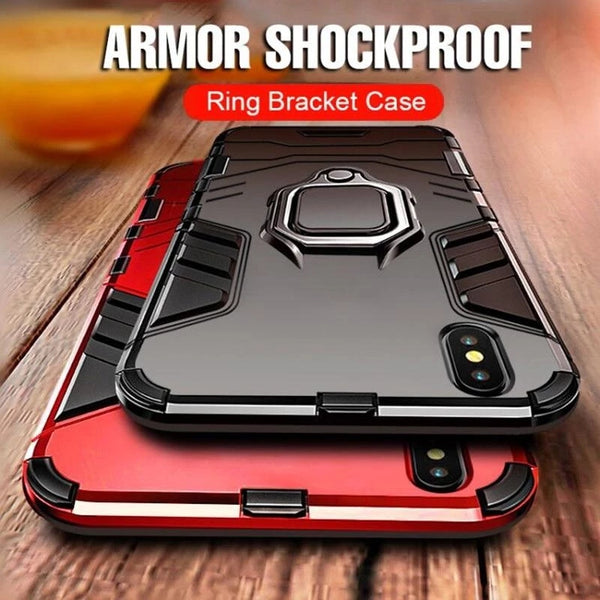 Phone Case - Luxury Heavy Duty Anti-knock Armor Phone Case for iPhone X XR XS Max With Holder