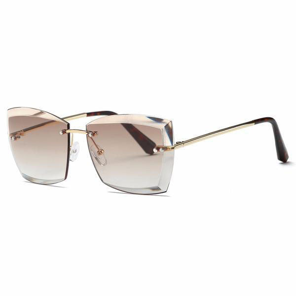 Sunglasses - Women's Square Rimless Diamond cutting Sunglasses