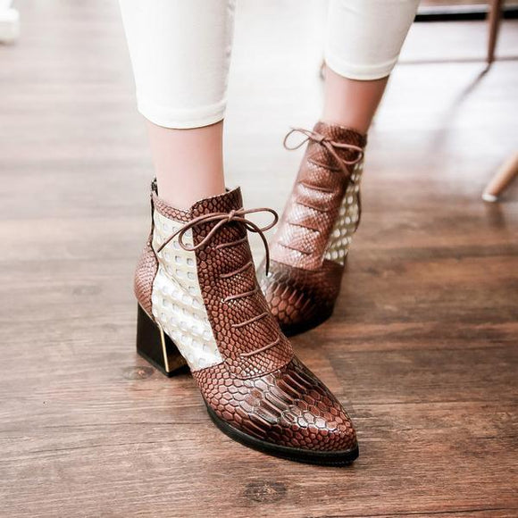 Invomall Ladies Fashion Pointed Toe Snake Print High Heel Boots
