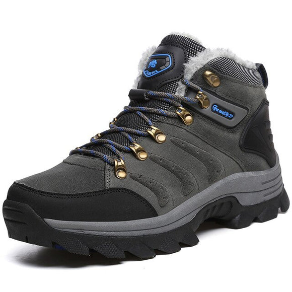 Invomall Men's Warm Plush Waterproof Hiking Shoes Snow Boots