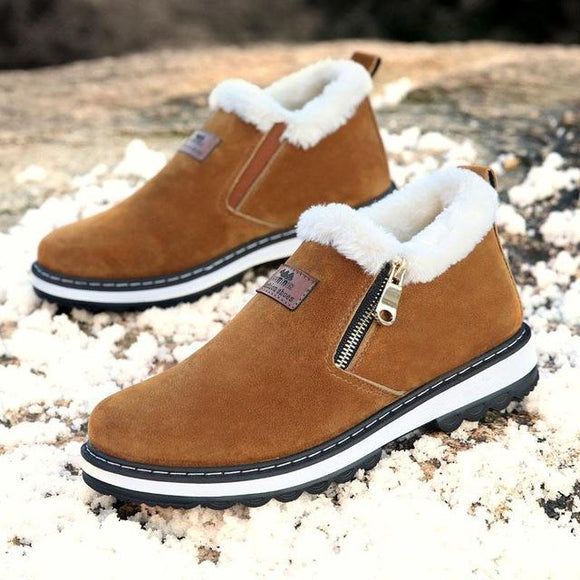Invomall Men's Fashion Warm Short Plush Casual Fur Boots