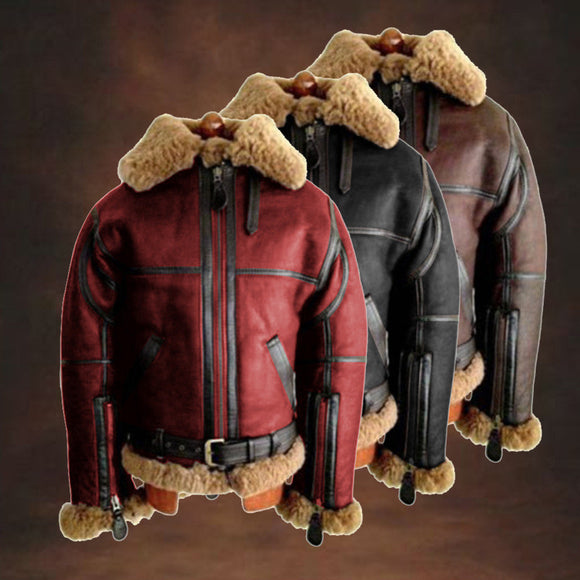 Invomall Men's Fleece Leather Jacket