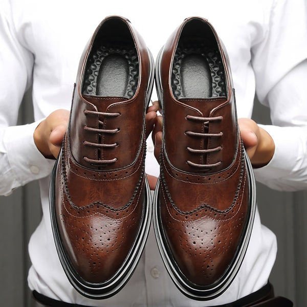 Shoes - Men's Business Leather Brogue Shoes