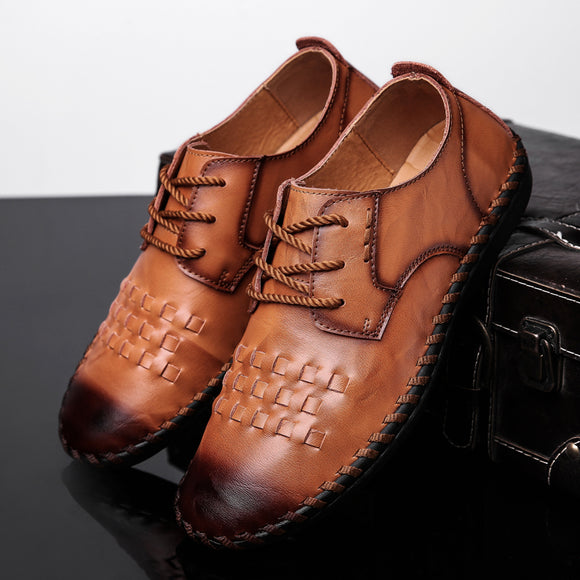 Shoes - Men's Leather Breathable Comfortable Handmade Loafers