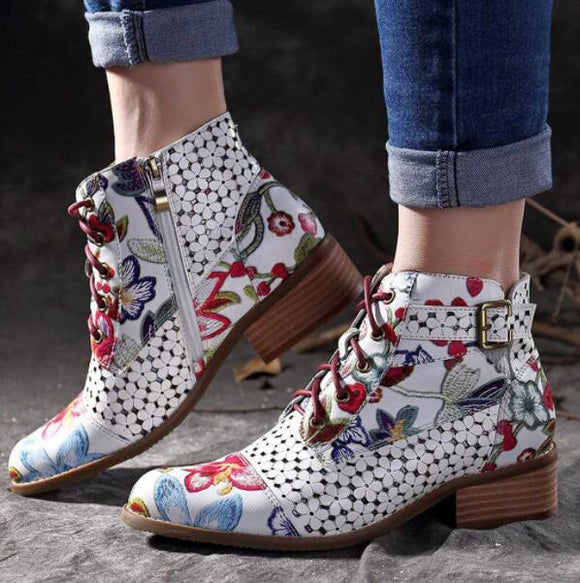 Invomall Bohemian Women's Vintage Leather Ankle Boots