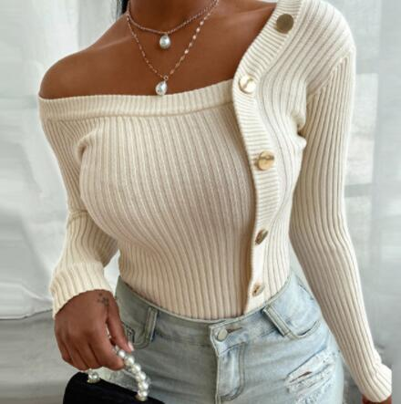 Invomall Autumn Elegant Solid Knit Ribbed Blouse