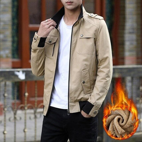 Invomall Men's High Quality Warm Denim Coats