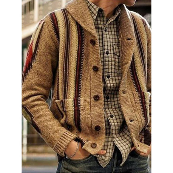 Invomall Men's Patchwork Knitted Outwear Coat Sweater