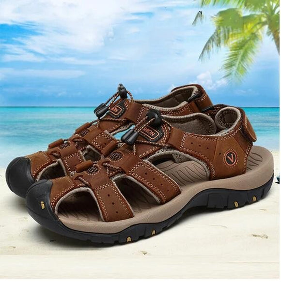 Invomall Genuine Leather Men Sandals