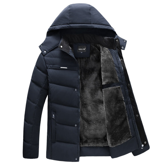 Invomall Thicken Warm Jacket Men Fashion Hooded Coat