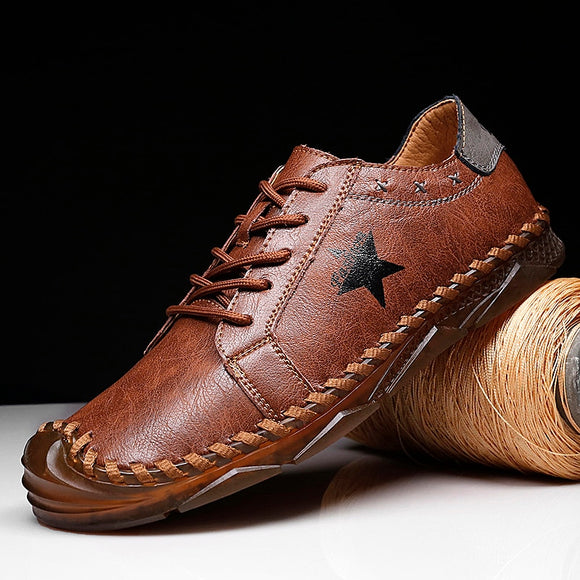 Invomall Men's Handmade Classic Leather Shoes