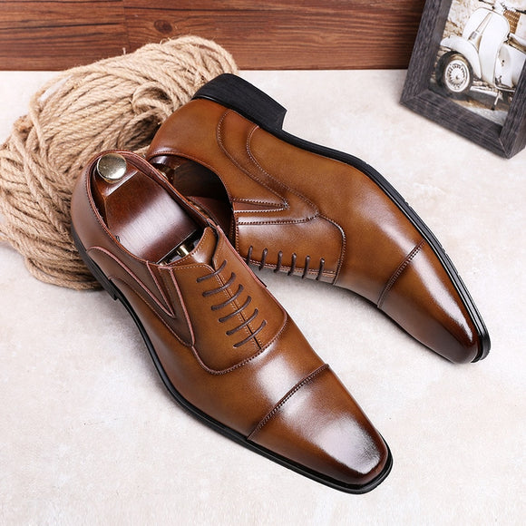 Invomall Men's Cowhide Leather Dress Shoes