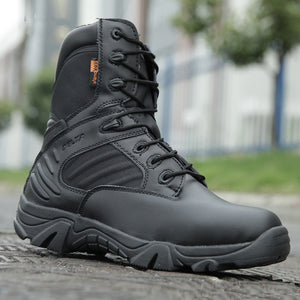 Invomall Men's Military Tactical Genuine Leather Hiking Boots
