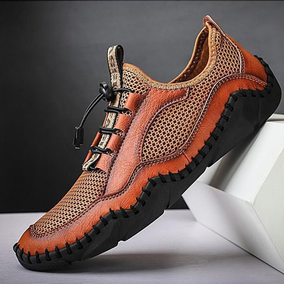 Invomall Men's Outdoor Leather Mesh Shoes