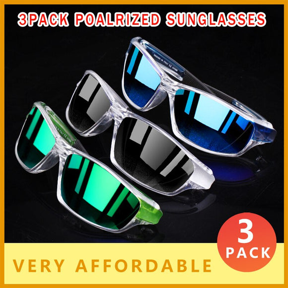 Invomall 3 PACK Sport Style Polarized Sunglasses