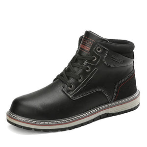 Invomall Men's Handmade Vintage Ankle Leather Boots
