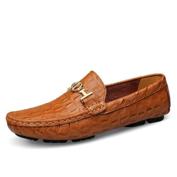 Shoes - Big Size Alligator Soft Leather Loafers Men's Shoes