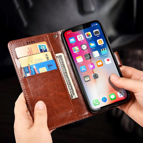 Invomall Luxury Leather Flip Wallet Card Slots Phone Case For iPhone
