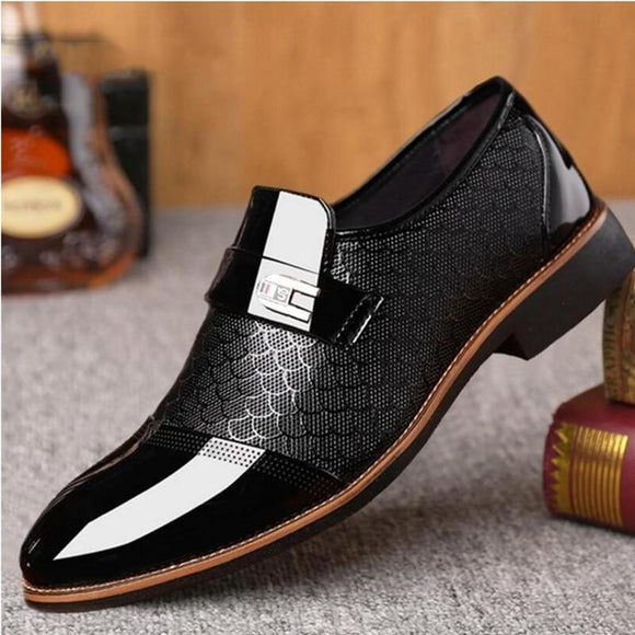 Invomall Men's Leather Flat Business Oxfords Shoes