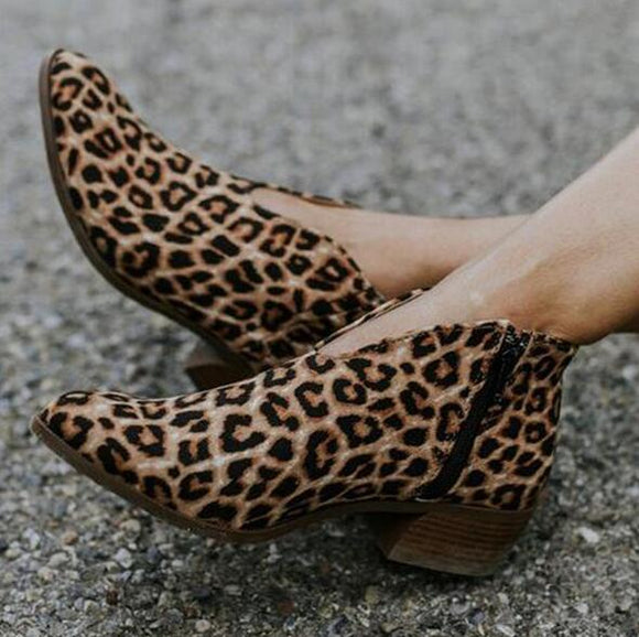Shoes - Women's Sexy Leopard Flock Leather Shoes