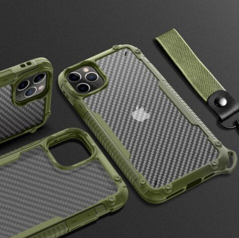 Invomall Armor Matte Shockproof Bumper Lanyard Phone Case For iPhone