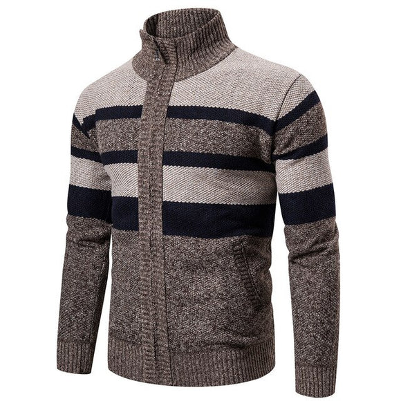 Invomall Men's Slim Fit Zipper Cardigan Sweater