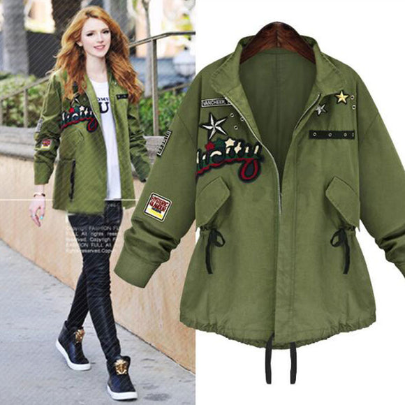 Invomall Ladies Embroidery Patchwork Bomber Jacket