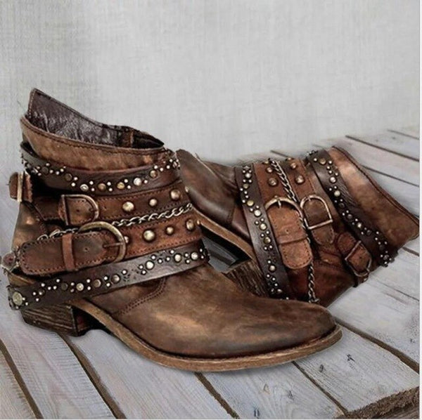 Invomall Fashion Solid Color Rivets Leather Buckle Boots