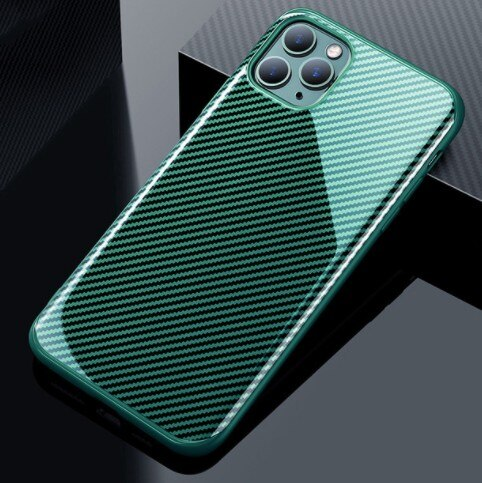 Invomall Carbon Fibre Solid Color Glossy Phone Case For iPhone