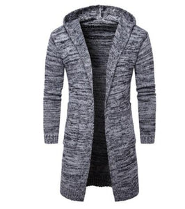 Invomall New Men's Solid Knit Trench Coat Jacket