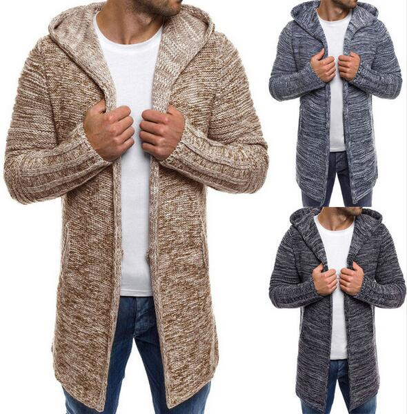 Clothing -New Men's Solid Knit Trench Coat Jacket